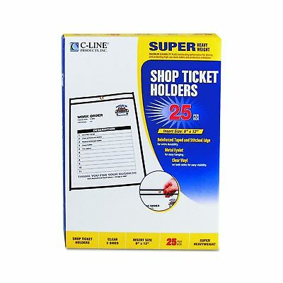 C-Line Stitched Shop Ticket Holders, Both Sides Clear, 9 x 12 Inches, 25 per Box