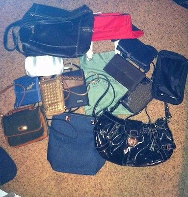 Lot of 14 Different Purses, Wallets, Handbags, Crossbody, Dress & Casual Bags