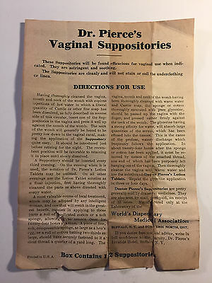 1910's Dr. Pierce's Vaginal Suppositories & Lotion Tablets Directions Ephemera
