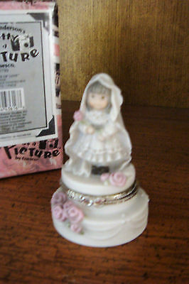 "Pretty As A Picture ""promises Of Love"" Bride Wedding Cake Trinket Or Ring Box"