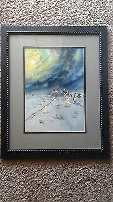 "Original Framed Watercolor ""Crystal Moon"" by Navajo Artist Peterson Yazzie"