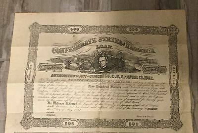 1862 Confederate States Of America $500 Loan Document #9544