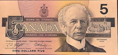 1986 Canada Five 5 Dollars FPN Series- Uncirculated Banknote -#GPY7595067