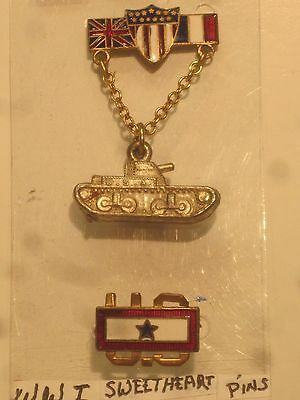2-Ww1 Sweet Heart Pins  Tank & Us With Blue Star