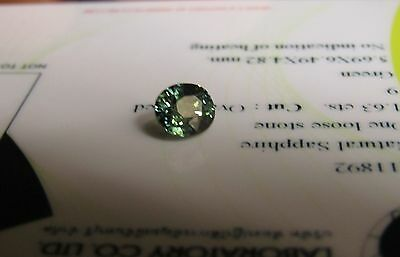 Certified Unheated 1.63 Carat Oval Cut Green Transparent Sapphire.