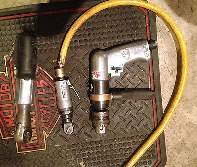 SNAP-ON, Mac and Matco air tool lot, 1/2, 3/8 and 1/4 air ratchet and air drill