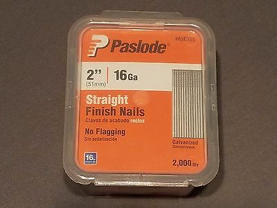 """1 New Paslode 2"""" Inch Straight Finish Nails 16 Gauge Galvanized Qty 2000 Per Box"""