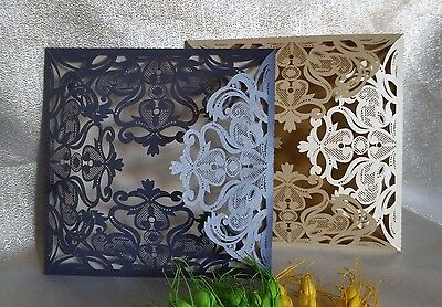 Premium Pearl Ivory Blue Laser Cut Wedding Invitations Card Insert Envelope