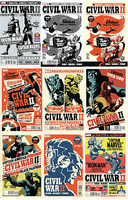 Marvel Civil War Ii 1 2 3 4 5 6 7 8 Michael Cho Variant Set 2016 Comic Nm