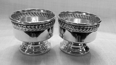 "Pair of Fisher ""472"" vintage open master salts in sterling silver NO mono"