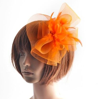 Hot Fashion Women Orange Hair Clips Accessories Feather Fascinator Wedding Party