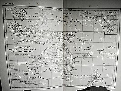1800's Book Map of Australia Antique Map US Maps Old Maps 1800's Pacific