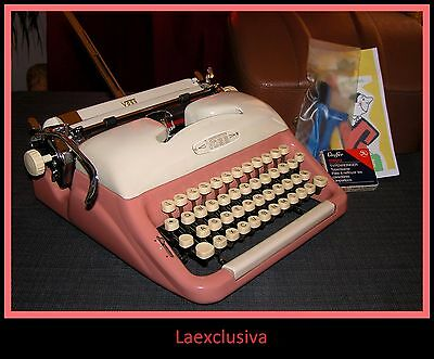 Great PINK VOSS S24 Typewriter; ultra rare 1950s Gem  -original lacquer -(VIDEO)