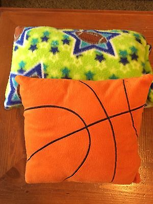 "Handmade ""Basketball & Football Toddler Pillows,Multi-Color 2 For 1"