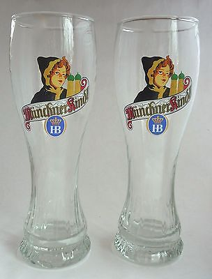 "Vintage Munchner Kindl HB 9.5"" Tall 0.5L Beer Glass German Pilsner Weizen Swirl"