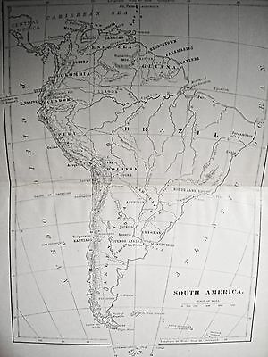 1800s Map Of America.1800 S Book Map Of South America Antique Map Old Maps 1800 S Brazil