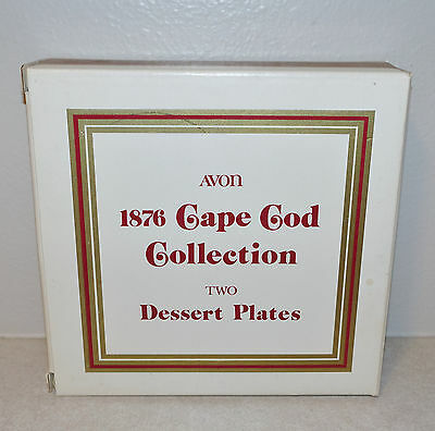 AVON 1876 Cape Cod Collection Ruby Red Glass Dessert Plates Set of Two (2) NEW