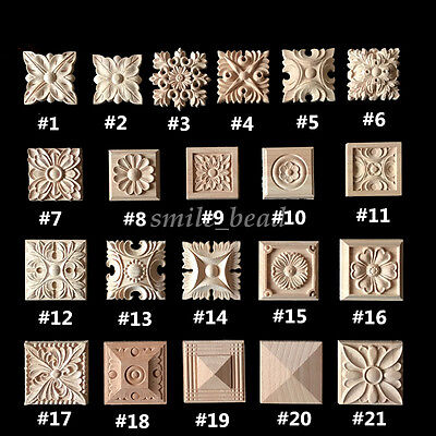 Wood Carved Square Onlay Applique Unpainted Flower Home Furniture Decor Decal