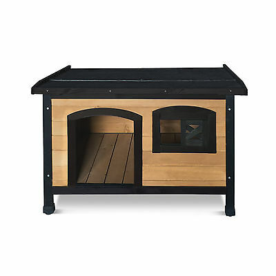 Pet Dog Kennel House Timber Wooden Log Cabin Wood Indoor Outdoor Window Medium