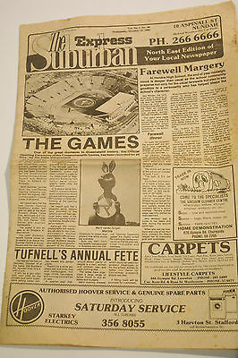 Vintage The Suburban Express Newspaper Brisbane THE GAMES Edition Oct 13 1982