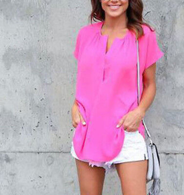 Fashion Ladies Casual Tops T-Shirt Women Summer Loose Top Short Sleeve Blouse M