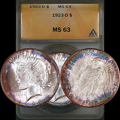 1923-D Peace Dollar $1 ANACS MS63 - Key Date - Colorful Blue Rainbow Toning