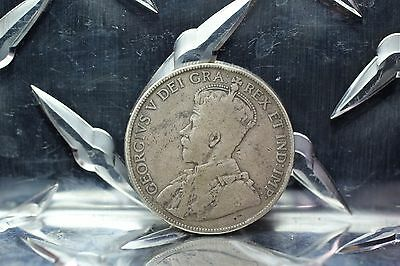 1918 Canada KING GEORGE V SILVER FIFTY 50 CENTS HALF DOLLAR  1B15