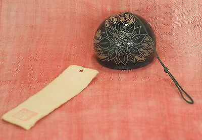 Japan Vintage Wind Bell Pottery Agno Ware Sunflower Japanese Paper Tanzaku Furin
