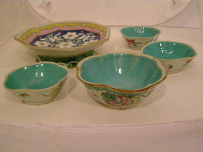 Vintage 5 Chinese Polychrome Decorated Bowls