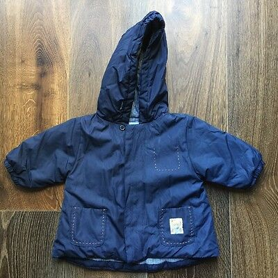 JACADI Paris Baby Boys Size 6 Months Navy Blue Hooded Parka Jacket Check Lining