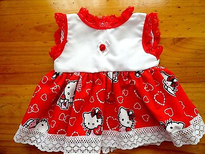 Baby Born Doll Sdress With No Sleeves In Red And White With Hello Kitty