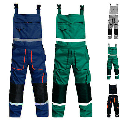 Mens Bib and Brace Overalls Work Trousers Bib Pants Cordura Knee Padded All Size