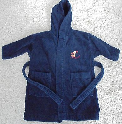 next navy towelling dressing gown 12-18 months