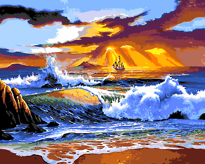 Paint By Numbers Kit Canvas 50*40cm 8081 Sailing into waves AU Shipping