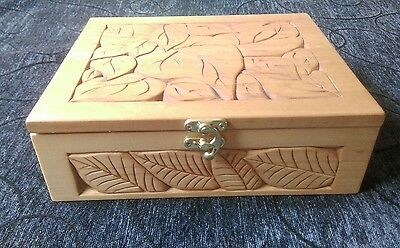 Wood rustic box hand carved