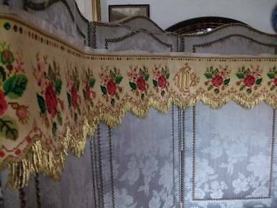 19th Century French  Tapestry Altar Fronta With Metallic Trim
