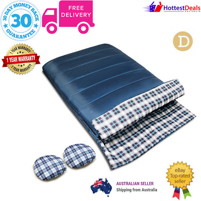 Double Outdoor Sleeping Bag Camping Hiking Thermal Winter -10°C 220x145cm NAVY