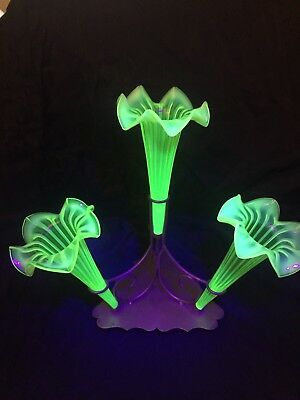 Antique 1890's Uranium Glass Epergnes