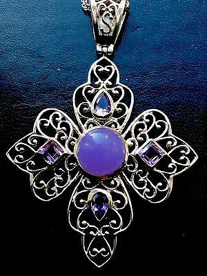 Beautiful Antique Large Solid Silver & Amethyst & Silver Chain Pendant FreeUKP&P