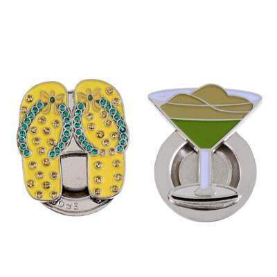 2Pcs Mini Alloy Magnetic Hat Clip with Golf Ball Markers for Golf Hat Clip