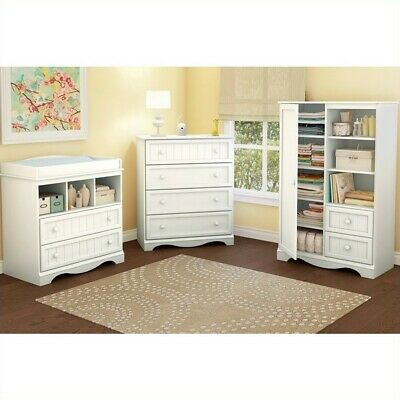 South Shore Handover Kids Door Chest in White Finish Transitional Baby Armoire