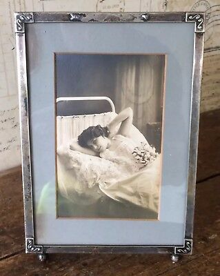 Antique Metal Photo/Picture Frame With Antique Postcard