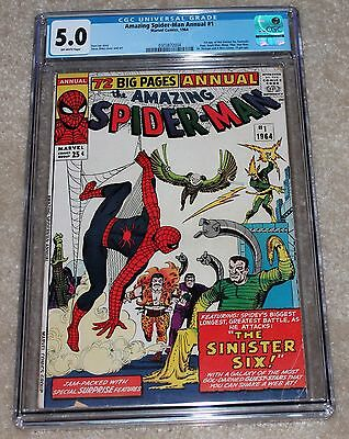 Amazing Spider-Man Annual #1 CGC 5.0 OW 1964 First Sinister Six Silver Age Key