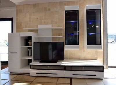 High quality wall unit, set, white gloss, led light, modern,  6 pieces, bargain!