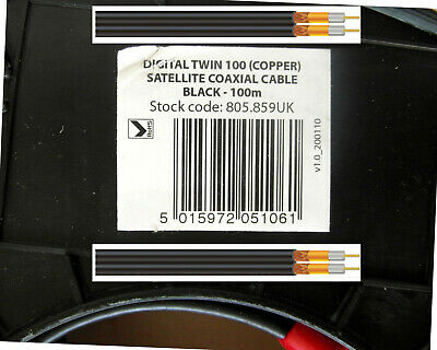 Digital Twin 100 Copper Satellite Coaxial Cable Black 100m RoHS Comp. 805.859UK