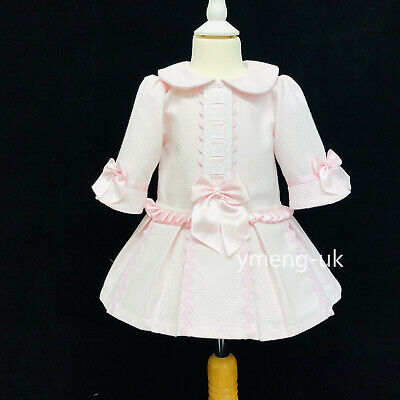 Gorgeous Wee Me Baby Girl Pink Spanish Princess Half Sleeve Dress Satin Bow
