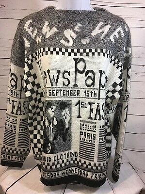Vintage 80s CHECKERED Black & White ICONIC Fashion Newspaper Party SWEATER Xl