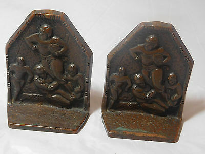 2 Antique Cast Iron Football Bookends Running Back Getting Tackled