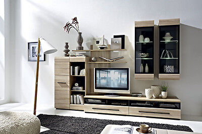 Living Room Furniture Fever, Wall unit in oak sonoma, high quality, 6 pieces!