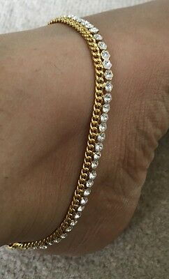 Pair Of Golden Crystal New Anklets FootChain Anklet Wedding Women Jewellery Gift